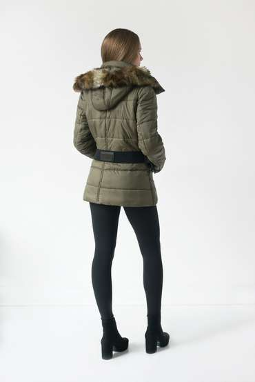 Model wearing Melrose jacket back view in the studio